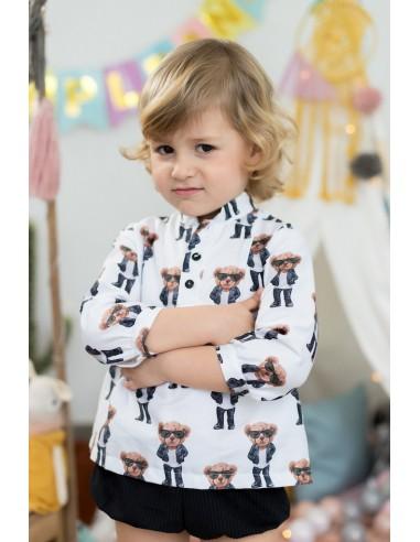 camisa estampado oso mon petit bombon